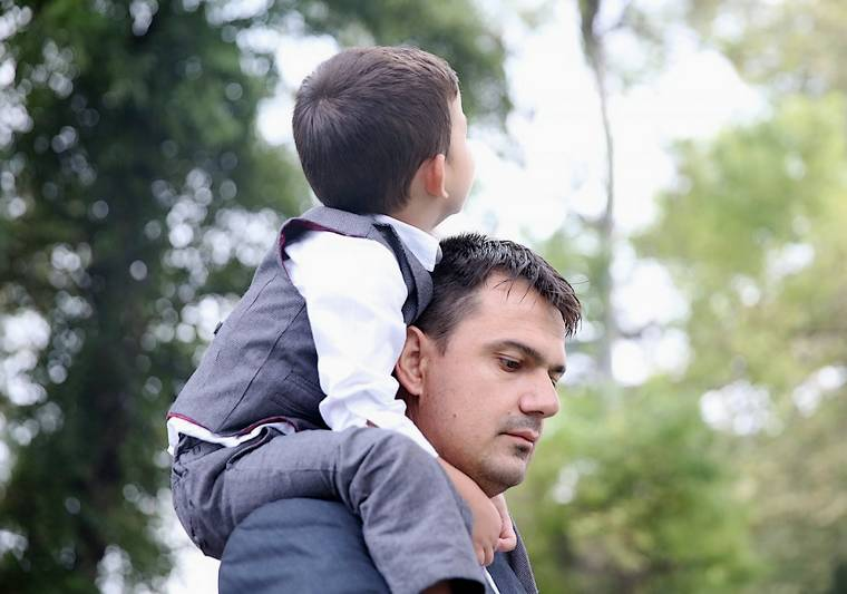 Father and child in the park